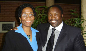 A legendary soccer star  Jomo Sono with Professor Stella Nkomo at the  function fdb60458b803